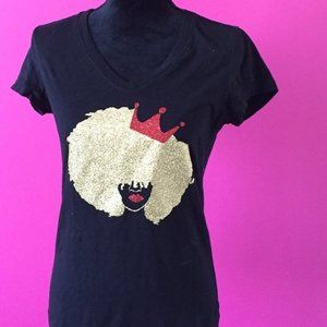 Tops - Natural Hair Afro with Crown Glitter Fitted Tee M
